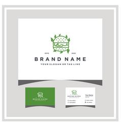 Burger leaf logo design and business card vector