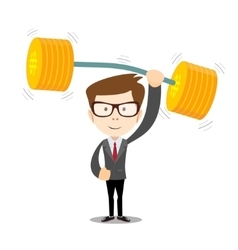 businessman lifts up heavy barbell with dollar vector image