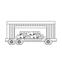 cargo truck vehicle container cartoon vector image