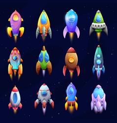 cartoon spacecraft rockets and spaceships set vector image
