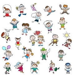 Childrens drawings of doodle people vector