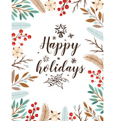 Christmas card with evergreen plants and lettering vector