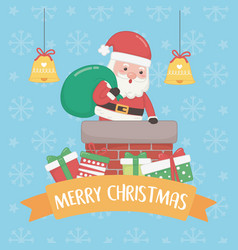 christmas card with santa claus and bag inn vector image