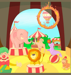 Circus concept scene cartoon style vector