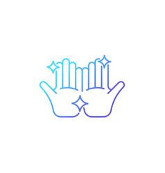 Clean hands gradient linear icon vector