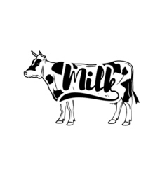 Cow Vintage isolated on white vector