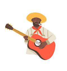 cuba national dark skin artist musician man vector image