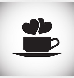 Cup with hearts on white background vector