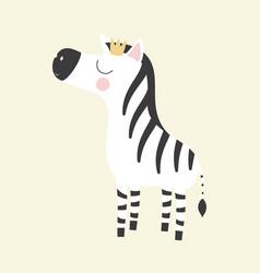 Cute zebra princess vector