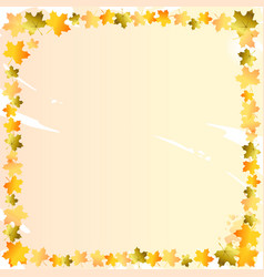 Decorative square frame of orange and golden maple vector