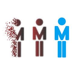 dispersed pixel halftone man icon vector image