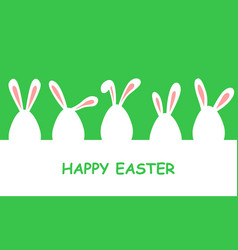 easter banner with eggs decorated with rabbit ears vector image