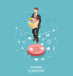 Engaging content marketing isometric flat vector