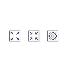 Enlarge reduce and settings line icons vector