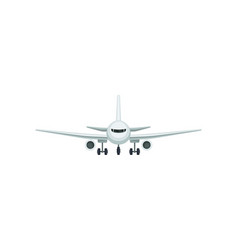 flat icon of passenger airplane front view vector image