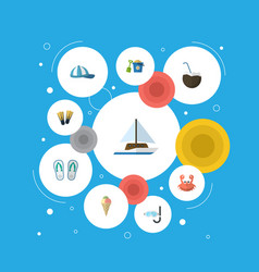 Flat icons sailboard cocos aqualung and other vector