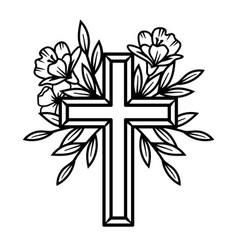 flower cross floral easter cross faith vector image