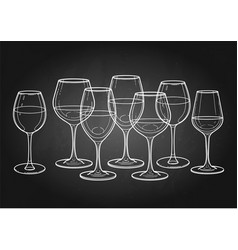 graphic row of wine glasses isolated on white vector image