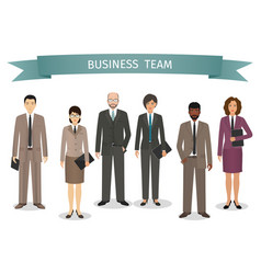 group of business men and women standing together vector image