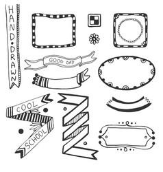 Hand drawn doodle web design elements set of vector