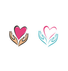 Hands holding heart symbol company logo or icon vector