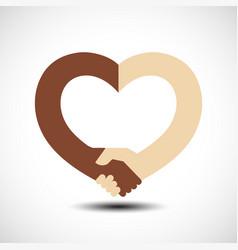 Handshake in form heart handshake sympathy vector