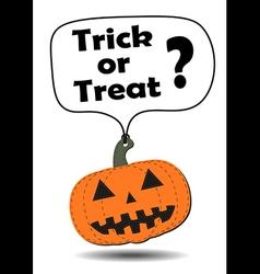 Hang tag halloween pumpkin vector image
