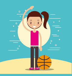 happy girl with sport basketball ball vector image