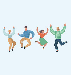 happy group of people jumping vector image