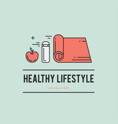 Healthy fitness lifestyle lineart concept vector