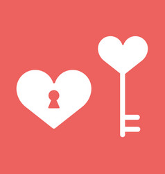 heart lockicon in flat minimalistic style vector image