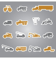 heavy machinery stickers set eps10 vector image