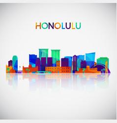 honolulu skyline silhouette in colorful geometric vector image
