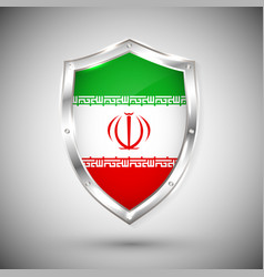 iran flag on metal shiny shield collection of vector image