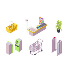 isometric 3d collection isolated urban element of vector image