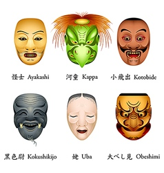 Japan masks II vector image