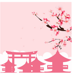 Japan pagoda sakura pink background image vector