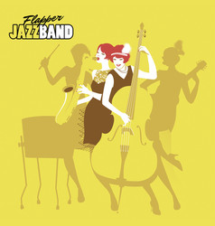 Ladies jazz orchestra four flapper girls playing vector