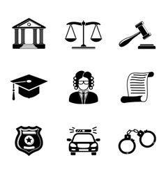 Law justice monochrome icons set vector