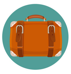 Leather luggage case in round blue button isolated vector