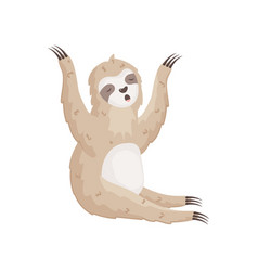 Little sloth is stretching yawning sitting vector