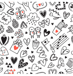 love concept hand drawn romantic seamless vector image