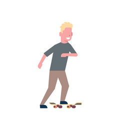 man skateboarding over white background cartoon vector image