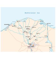 map nile river delta in upper egypt vector image