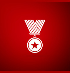 medal with star icon isolated on red background vector image