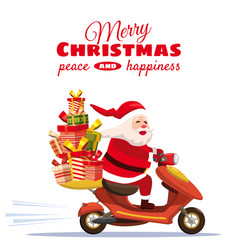 merry christmas happy santa claus with a gifts box vector image