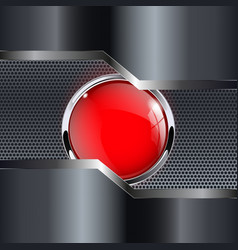 Metal background with red round button vector