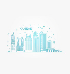 minimal kansas linear city skyline vector image