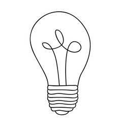 Monochrome contour of light bulb with filament in vector