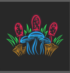 mushroom still life glowing neon sign from vector image